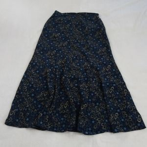 Katie Lee Blue Floral Flowy Flare Maxi Skirt